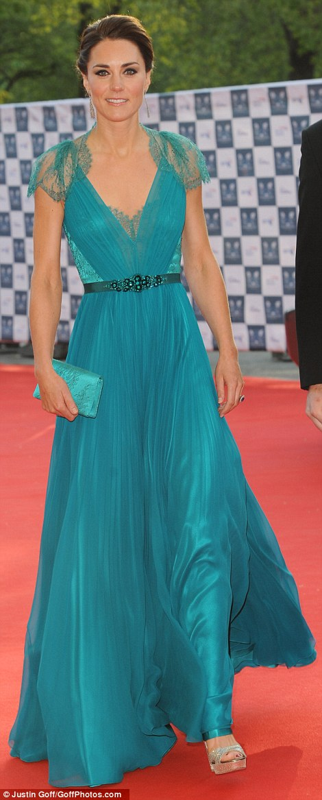 Duchess of Cambridge in Jenny Packham at Olympic Gala in May 2012