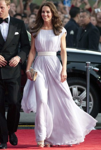 Duchess of Cambridge wearing Alexander McQueen at BAFTA event in LA in July 2011 (PA)