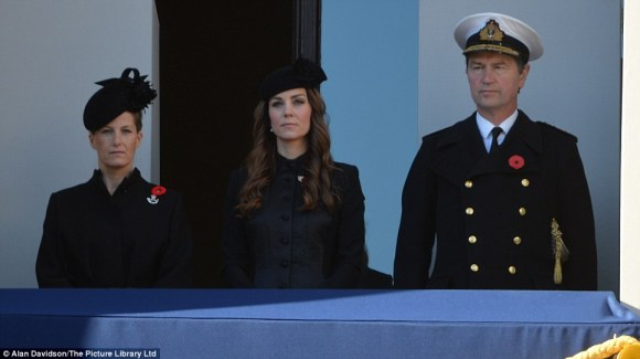 "Daily Mail: ""The Duchess of Cambridge (centre), Sophie, Countess of Wessex (left) and Timothy Laurence (right) attend the commemorations"""