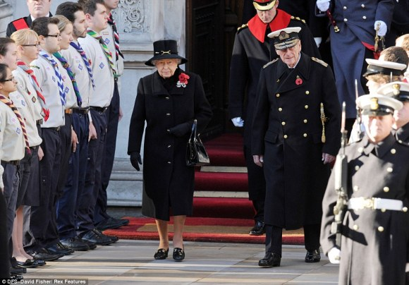 "Daily Mail: ""The Queen (left) and Prince Philip, Duke of Edinburgh (front right) arrive at the Cenotaph in Central London, ahead of Prince Harry (top)"""