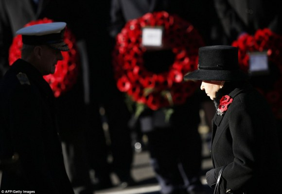 "Daily Mail: ""Queen Elizabeth II and Prince Philip, The Duke of Edinburgh (left) pay their respects during ceremonies marking Remembrance Sunday in Central London"""
