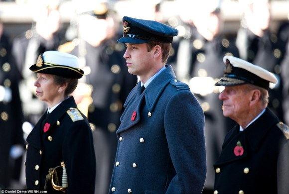 "Daily Mail: ""Princess Anne, Prince William, the Duke of Cambridge and Prince Philip, the Duke of Edinburgh attend the Remembrance Sunday commemorations"""