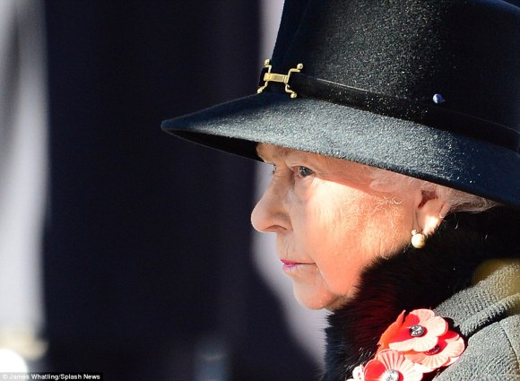 "Daily Mail: ""The Queen stood as the crowds gathered and observed a moment of quiet contemplation as Big Ben struck 11am"""