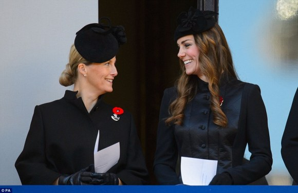 "Daily Mail: ""The Duchess of Cambridge (right) smiles as she stands with the Countess of Wessex, on a balcony overlooking Whitehall's Cenotaph in Central London"""