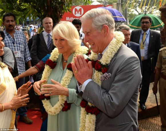 Royal couple arrives at the theatre, greeted with flows and a tika on the forehead  (November 11)