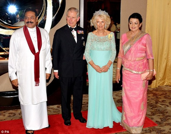 The Prince of Wales and Duchess of Cornwall with the President of Sri Lanka Mr Mahinda Rajapaksa and his wife Shiranthi