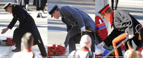 "Daily Mail: ""Three Princes: Philip (left) is joined in laying a wreath on Whitehall in Central London by William (centre) and Harry (right)"""