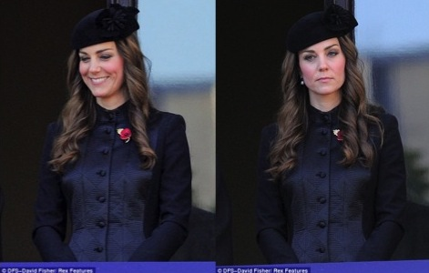"Daily Mail: ""Catherine, Duchess of Cambridge watches on while her husband Prince William lays a wreath at the Cenotaph"""
