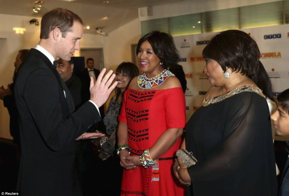The Duke speaking with Mandela's daughter, Zindzi (right)