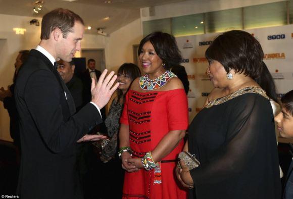 The Duke speaking with Mandela's daughter, Zindzi (right)