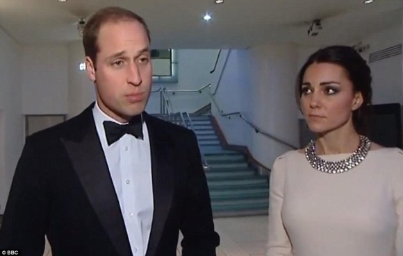 Prince William making statement on Mandela's death as they leave the Odeon