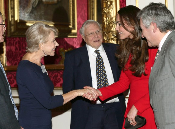 The Duchess of Cambridge greeting Dame Helen Mirren