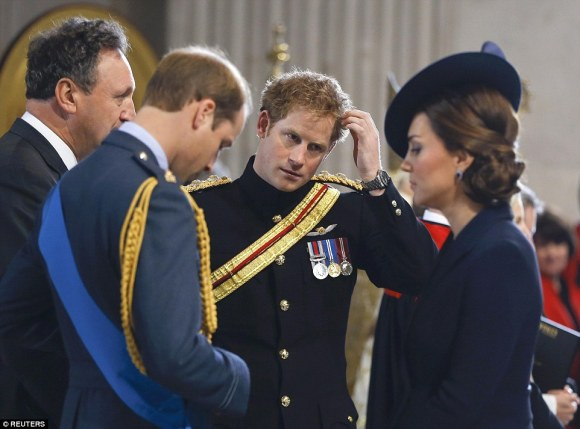 Duke and Duchess of Cambridge and Prince Harry at St. Paul's, Friday, 3/13/15