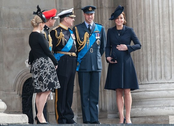 Duke and Duchess of Cambridge, Prince Andrew, Prince Edward, and Countess of Wessex leaving St. Paul's on Friday, 3/13/15